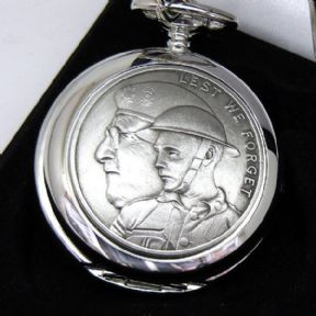 Pocket Watch, Remembrance, Lest We Forget, Personalised Skeleton Mechanical, ref ESPWS